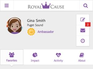 Gina's Ambassador Profile on the Royal Cause App